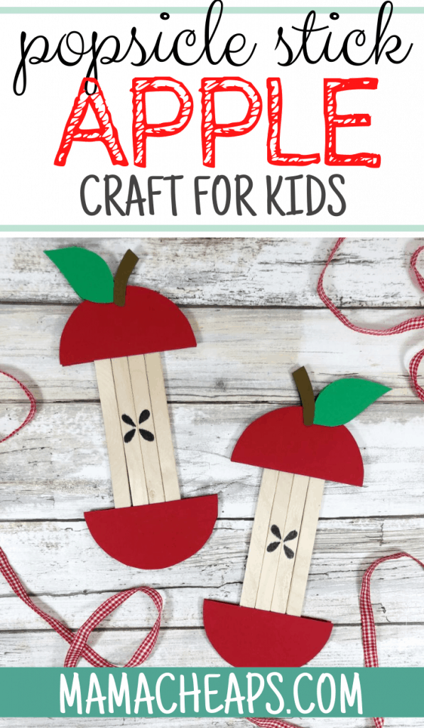 Popsicle Stick Apple Craft PIN