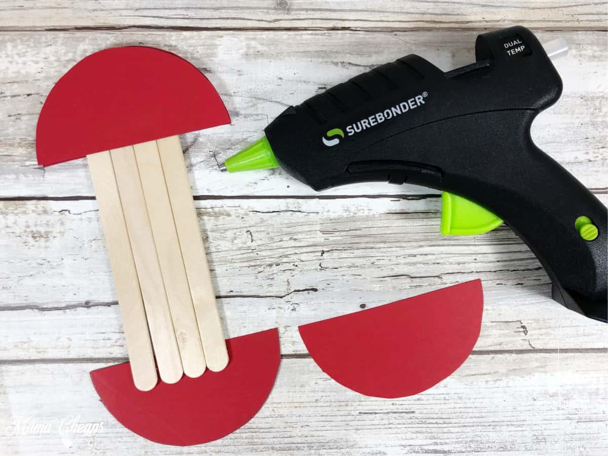 hot glue gun popsicle sticks