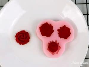 Red fondant flowers