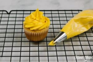 yellow frosting piping bag