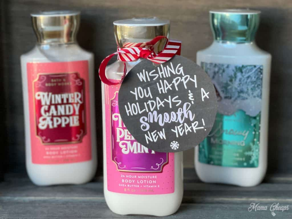 holiday body lotion in wooden crate