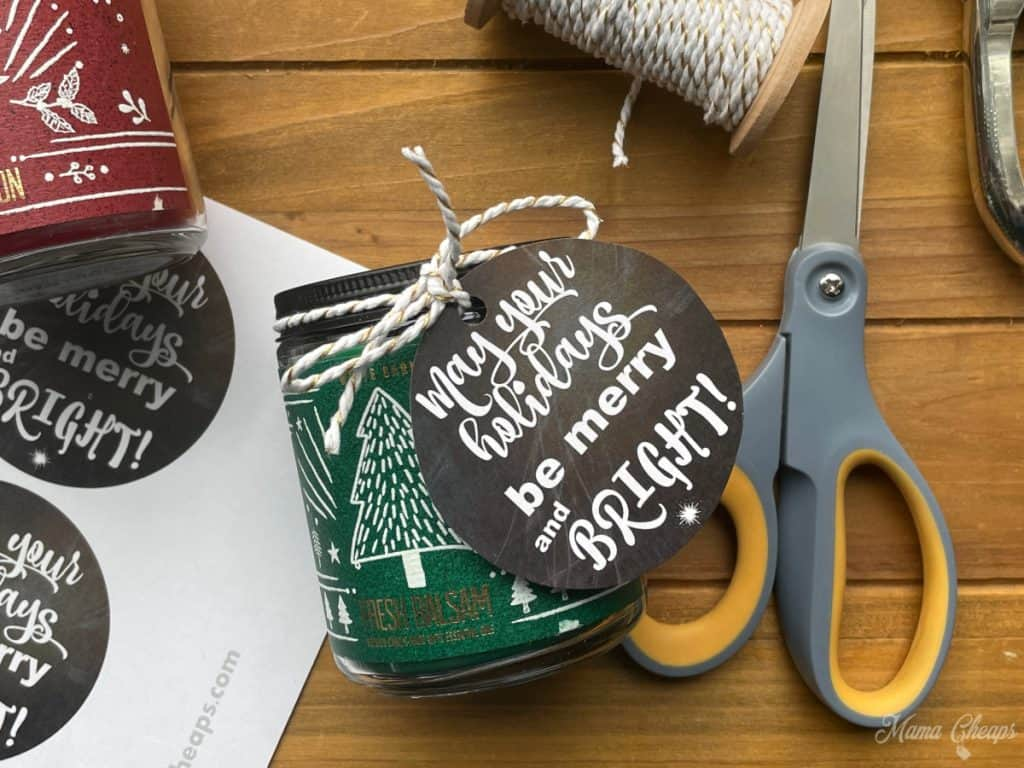 gift tag on candle