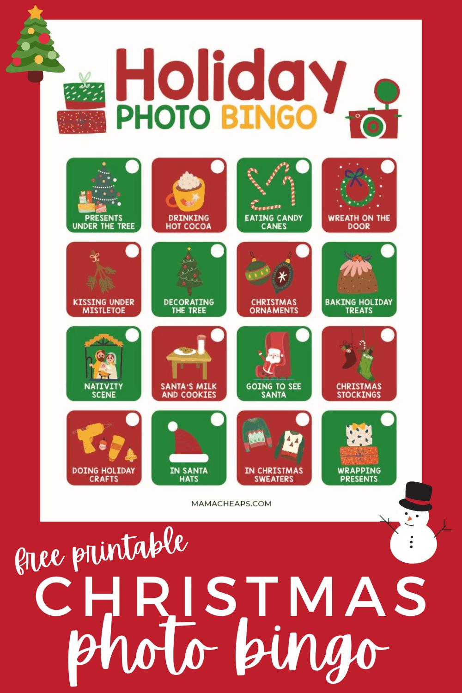 holiday photo bingo PIN