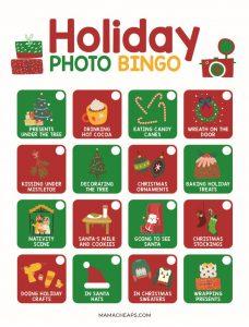 real color christmas photo bingo