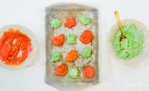 red and green cookie dough