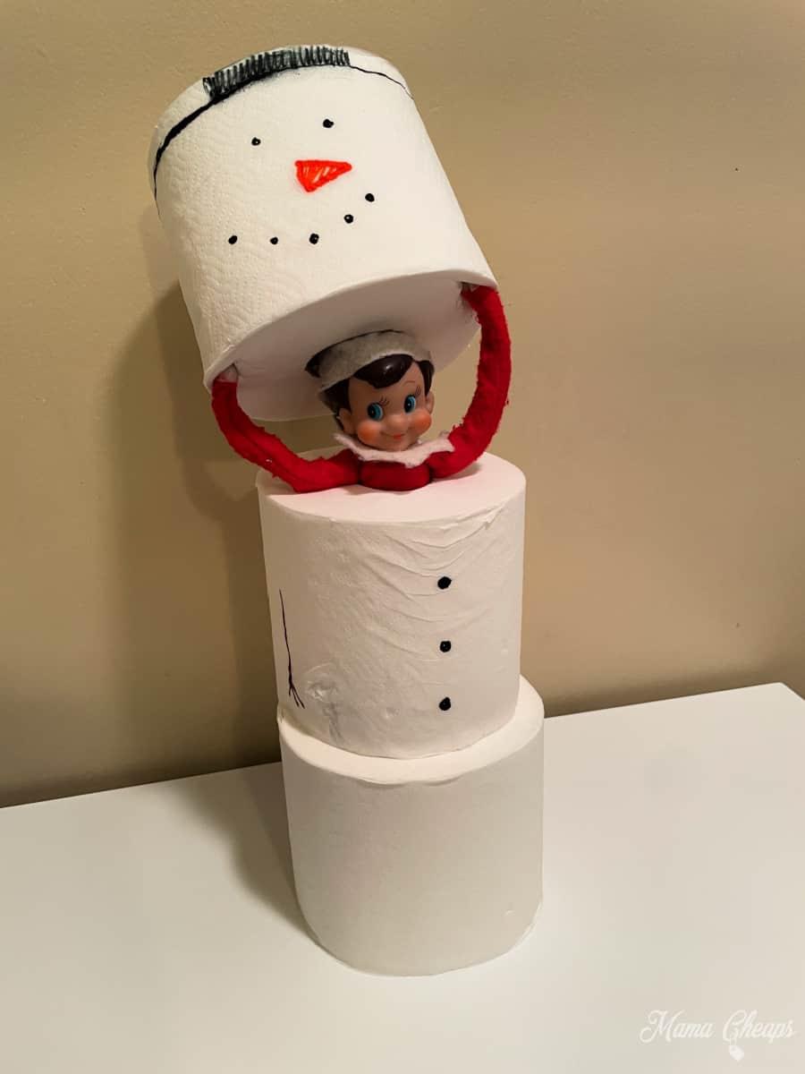 Elf snowman in toilet paper rolls