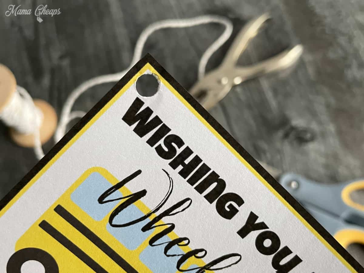 Punched hole in gift tag