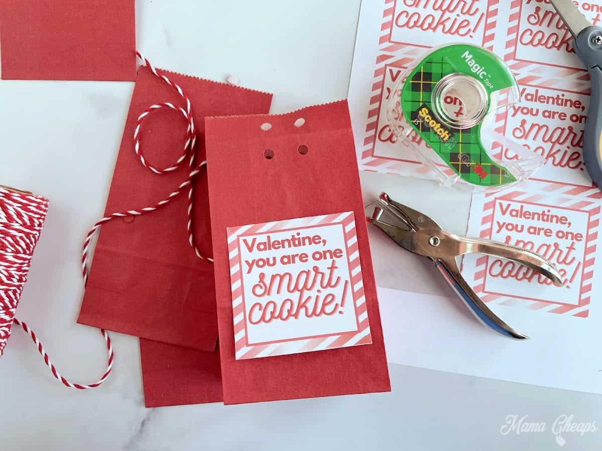 Smart Cookie Valentine Tag on Bag