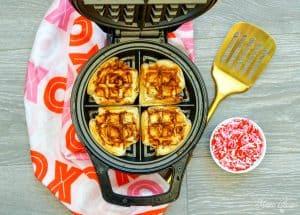 Cinnamon Roll Waffles in iron
