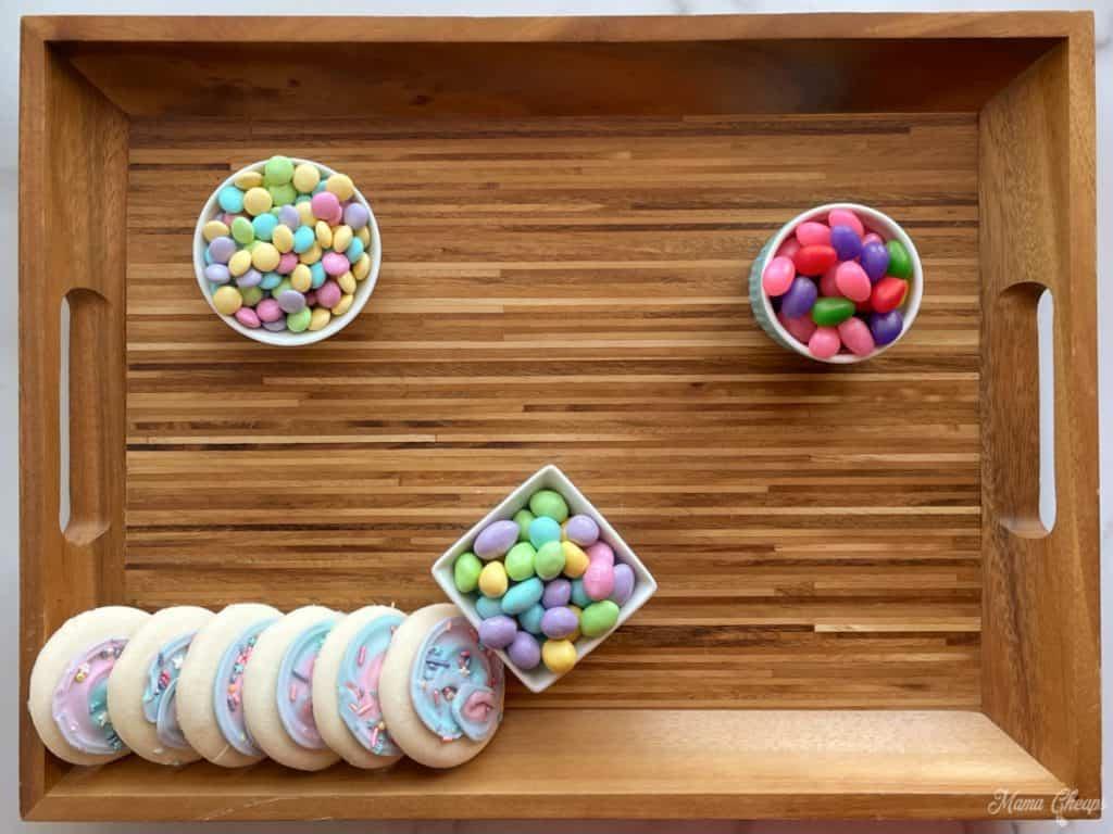 sugar cookies on dessert board