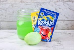 Kool Aid Dyed Easter Eggs LEMONADE and BLUE