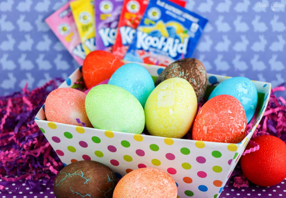 Kool Aid Dyed Easter Eggs in Basket