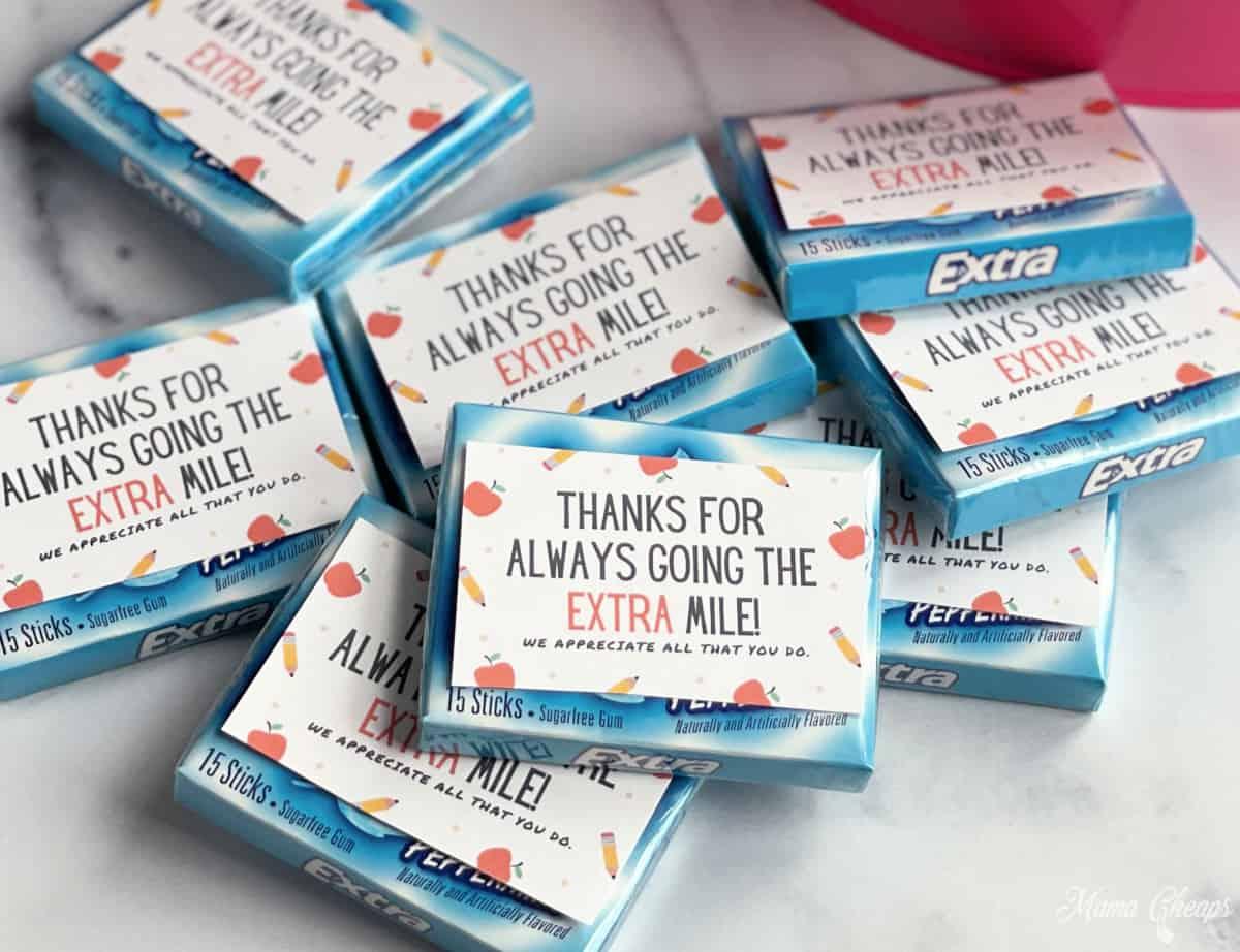 Extra Gum Teacher Appreciation Gift Idea Printable Mama Cheaps