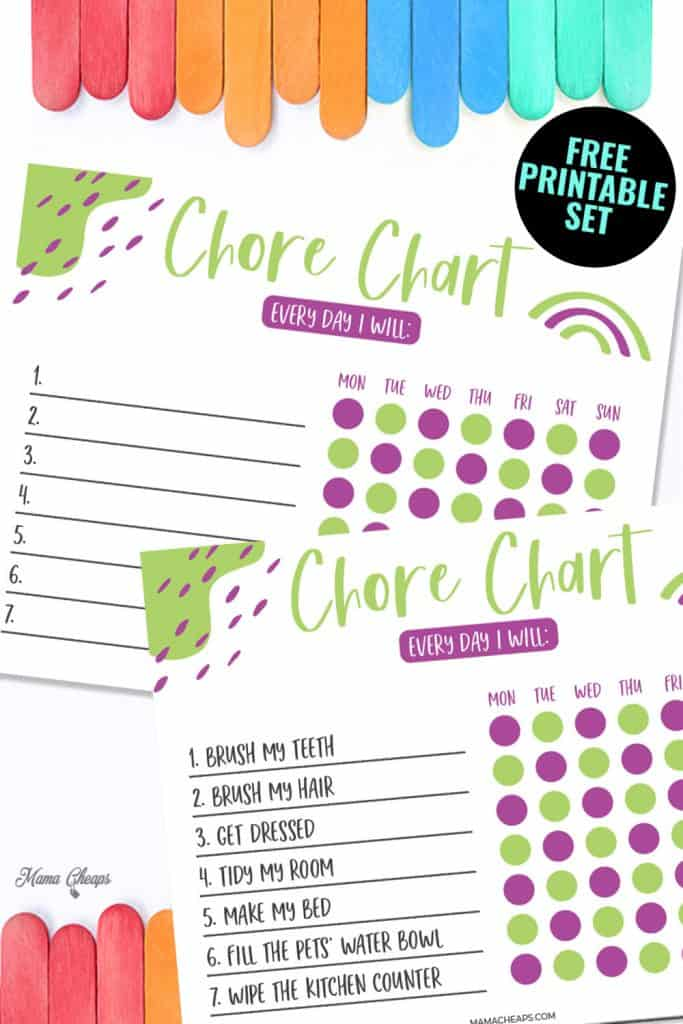 Printable Kid Chore Chart PIN
