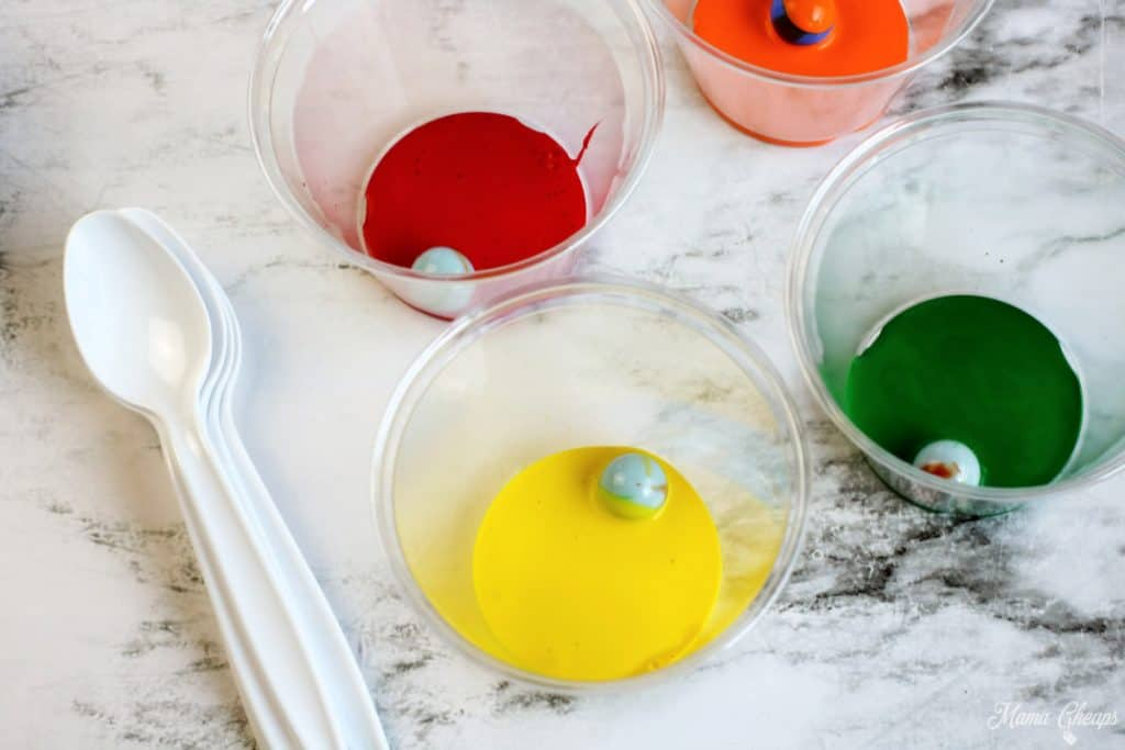 Marbles in Paint Cups