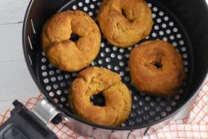 air fryer basket with donuts