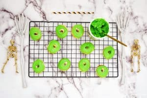 Halloween Monster Donuts green frosting