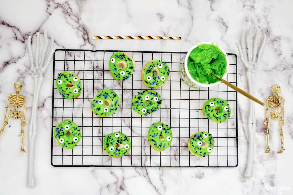 Halloween Monster Donuts green frosting and sprinkles