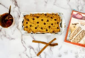 baked pumpkin bread with chocolate chips